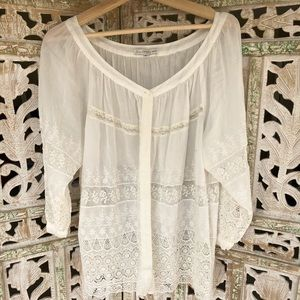 JOHNNY WAS Romantic Lace Combo Peasant Blouse